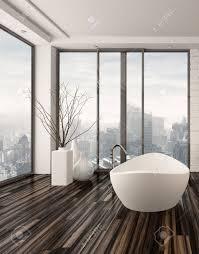 modern bathroom interior with a freestanding white bathtub on