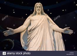 life sized statue of jesus christ inside the visitor center temple