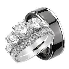 titanium wedding ring sets for him and quality bridal ring set for him and unique silver titanium