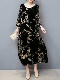 maxi dresses with sleeves casual floral crew neck velvet maxi dress stylewe