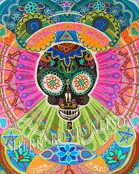 trippy rugs creative rugs decoration trippy skull poster psychedelic art print neon op art 70s day zoom