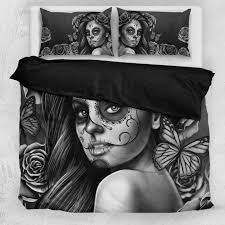 black and white girls bedding day of the dead u0027 calavera bedding set