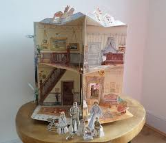 pop up 3d edwardian house book with card figures ted smart b