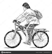 sketch of a teen on a bike u2014 stock photo chronicler101 139450090