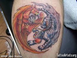 tiger and ying yang on back shoulder