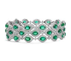 emerald bracelet images Triple row emerald and diamond halo bracelet in 18k white gold