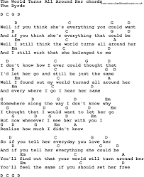 song lyrics with guitar chords for the world turns all around