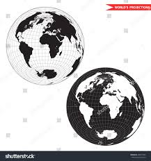 Map Projection Lambert Azimuthal Equalarea World Map Projection Stock Vector