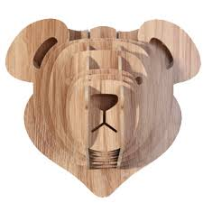 wooden animal wall wooden teddy for wall decoration diy crafts for children