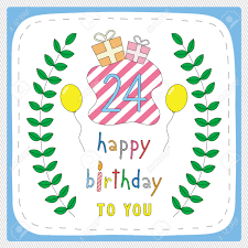 happy birthday card with 24th birthday and for 24 years