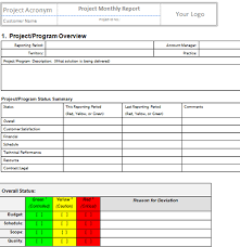 project monthly status report template project management status report template fieldstation co