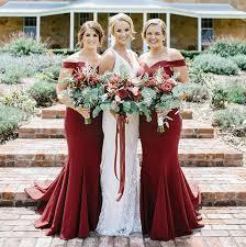 burgundy bridesmaid dresses mermaid the shoulder sweep burgundy bridesmaid dress