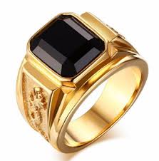 gold male rings images Free gold male ring big black sapphire stainless steel men 39 s png