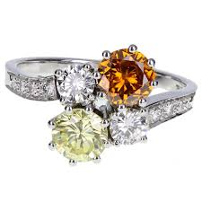 cluster rings fancy cert orange and yellow diamond gold cluster ring for