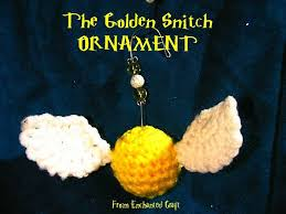 crocheted harry potter golden snitch ornament with beaded hanger