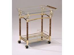 Acme Furniture Acme Furniture Mace Gold Serving Cart W Clear Glass Furniture