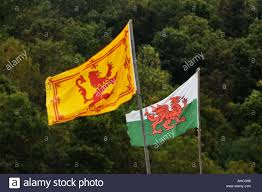Scotland Flags Royal Flag Of Scotland The Red Dragon Flag Of Wales Stock Photo