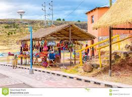 souvenir market near towers in sillustani peru south america