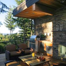 Stacked Stone Outdoor Fireplace - design ideas barbecue in deck plus outdoor sofa and outdoor