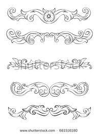 vector scroll circular flower ornament engraving stock vector