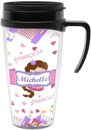 Travel Mug Princess Print Travel Mug With Handle Personalized Potty