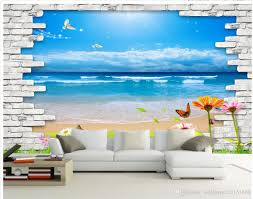 Home Wallpaper Decor by Classic Home Decor Clear Water Blue Sky 3d Background Wall Mural