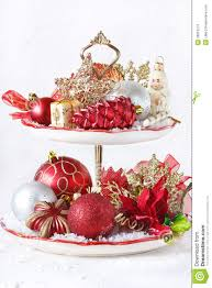 cupcake stand with christmas decorations royalty free stock