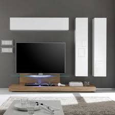 Wohnzimmerschrank Ohne Tv Wohnwand Samuele In Eiche Weiß Hochglanz Pharao24 De