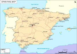 spain on a map rail map