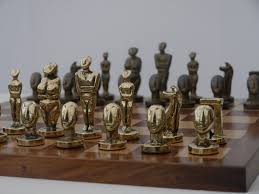 chessbaron the aegean chess set in heavy brass