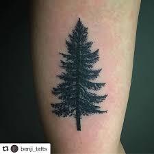 black ink pine tree on bicep