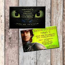 Personalized Invitation Card For Birthday Toothless Dragon Personalized Birthday Invitation 2 Sided