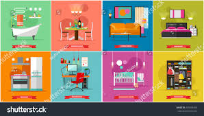 home interior vector illustration flat style stock vector