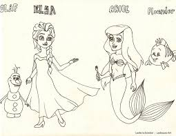 elsa ariel and friends coloring page by leslieann art on deviantart