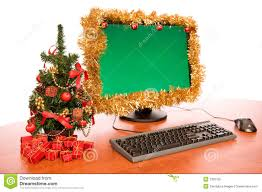 office desk with beautiful christmas decoration royalty free stock