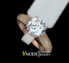 2 carat gold engagement ring engagement ring 2 carat cut cubic zirconia side micro pave