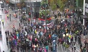 protesters peacefully assemble in seattle on black friday