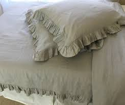 stone grey ruffle duvet cover handcrafted by superior custom linens