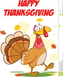 happy thanksgiving greeting with turkey walking stock illustration
