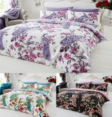 plume peacock printed duvet cover floral bedding set all sizes
