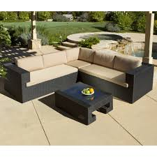 furniture outdoor sectional sofa with brown cushion and black