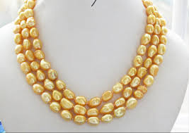 wholesale pearls necklace images Nice 3row 12mm yellow baroque freshwater pearl necklace factory jpg