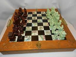 vintage soapstone asian emperor u0027s court chess set with inlaid