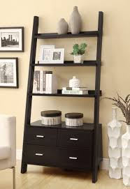 Black And Grey Laminate Flooring Black Wooden Ladder Shelf With Black Wooden Drawers On Grey Wall