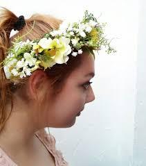 bridal hair flowers flower hair wreath yellow white green myosotis wedding bridal hair