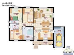 modele maison plain pied 4 chambres maison de plain pied avec toiture deux pentes et garage modèle