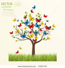 butterfly on tree vector illustration stock vector 472674757