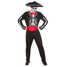 mariachi day of the dead skeleton mens halloween fancy dress costume