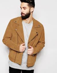 biker jacket men asos suede biker jacket in tan in brown for men lyst