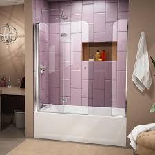 bathroom bathtub doors with purple ceramic wall design and grey